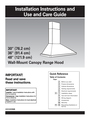"KitchenAid 30"" (76.2 cm) 36"" (91.4 cm) 48"" (121.9 cm) Wall-Mount Canopy Range Hood Installation Instructions"