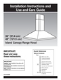 "KitchenAid 36"" (91.4 cm) 48"" (121.9 cm) Island Canopy Range Hood Installation Instructions"