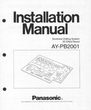 Panasonic AY-PB2001 Manual