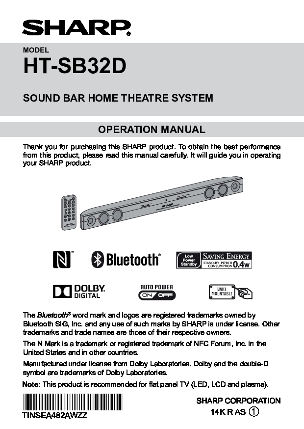 Sharp HT-SB32D Operation Manual