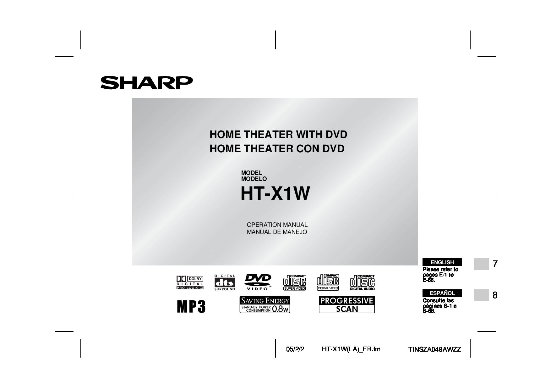 Sharp HT-X1W Operation Manual