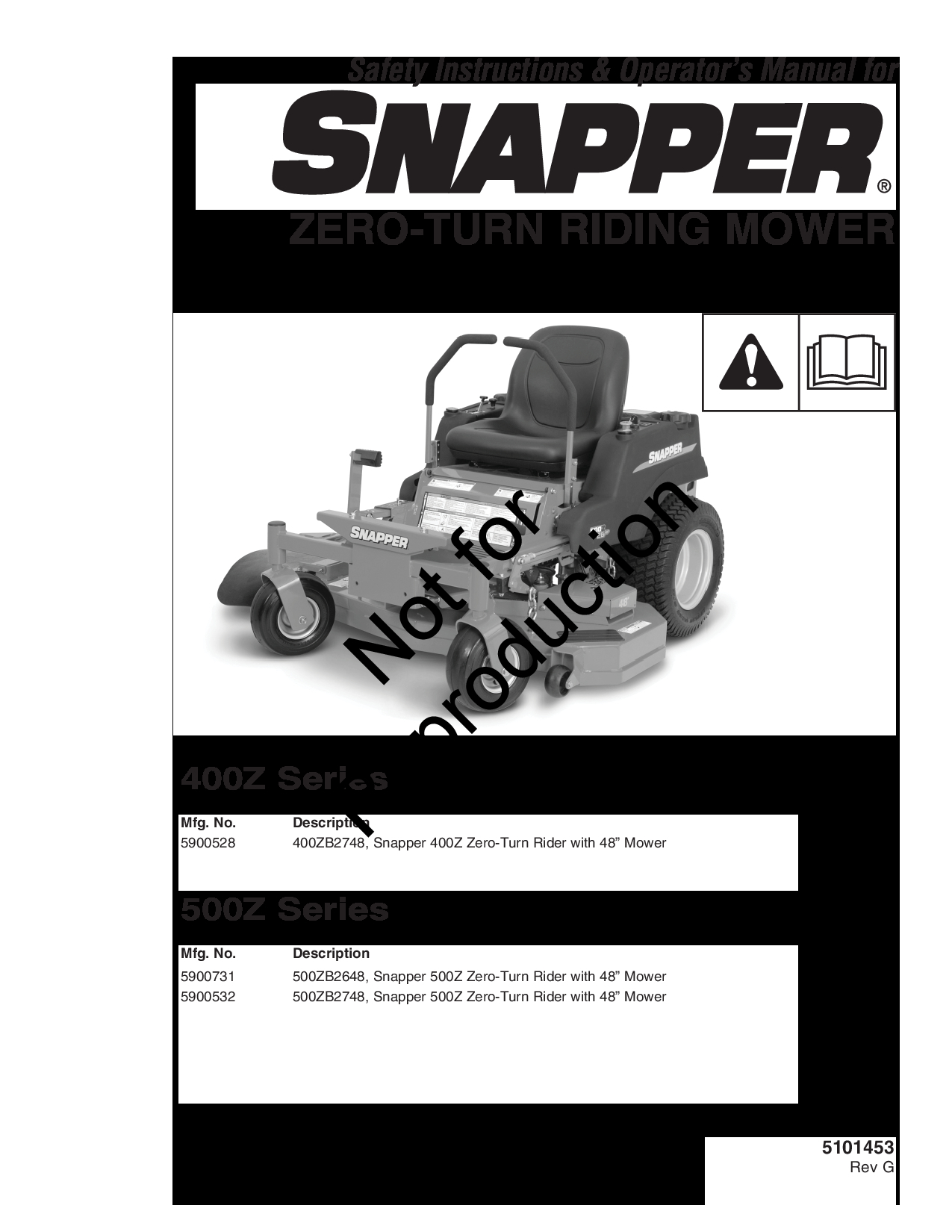 Snapper 400ZB2748 Manual