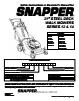 Snapper 215012, 215014, R215012, N215012, NR215012, FR215012, FR215014, P216012, EP216012, NP216012, RP215012, RP216012, RP215012T2, FRP216012, NRP215012, NFRP216012 Important Safety Instructions