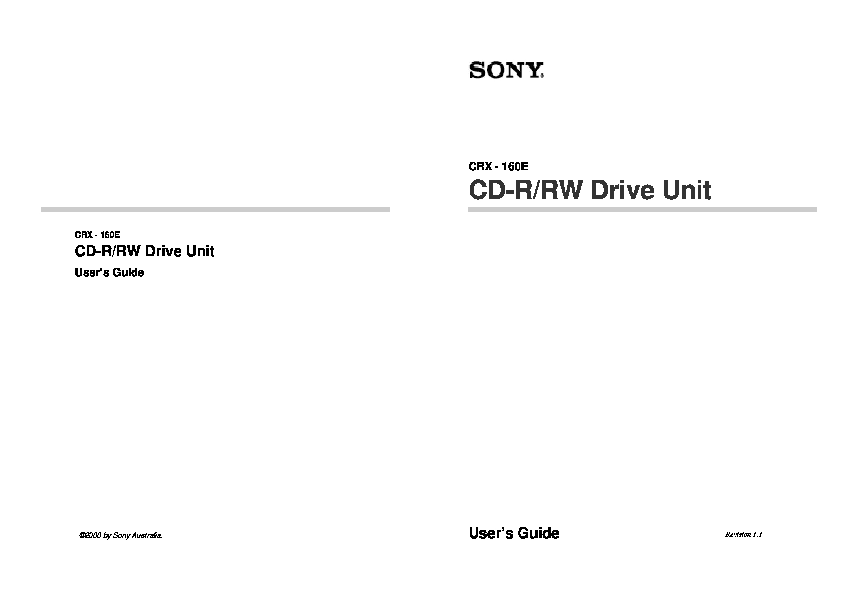 Sony CRX - 160E Manual