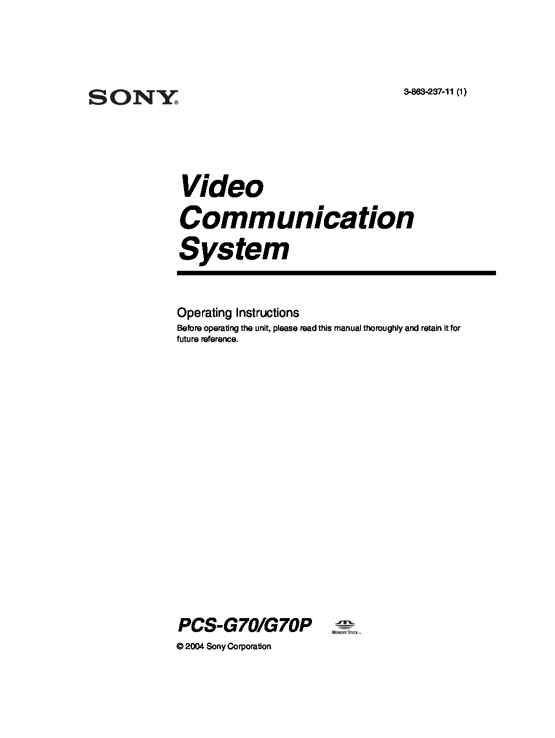 Sony PCS-G70 Manual