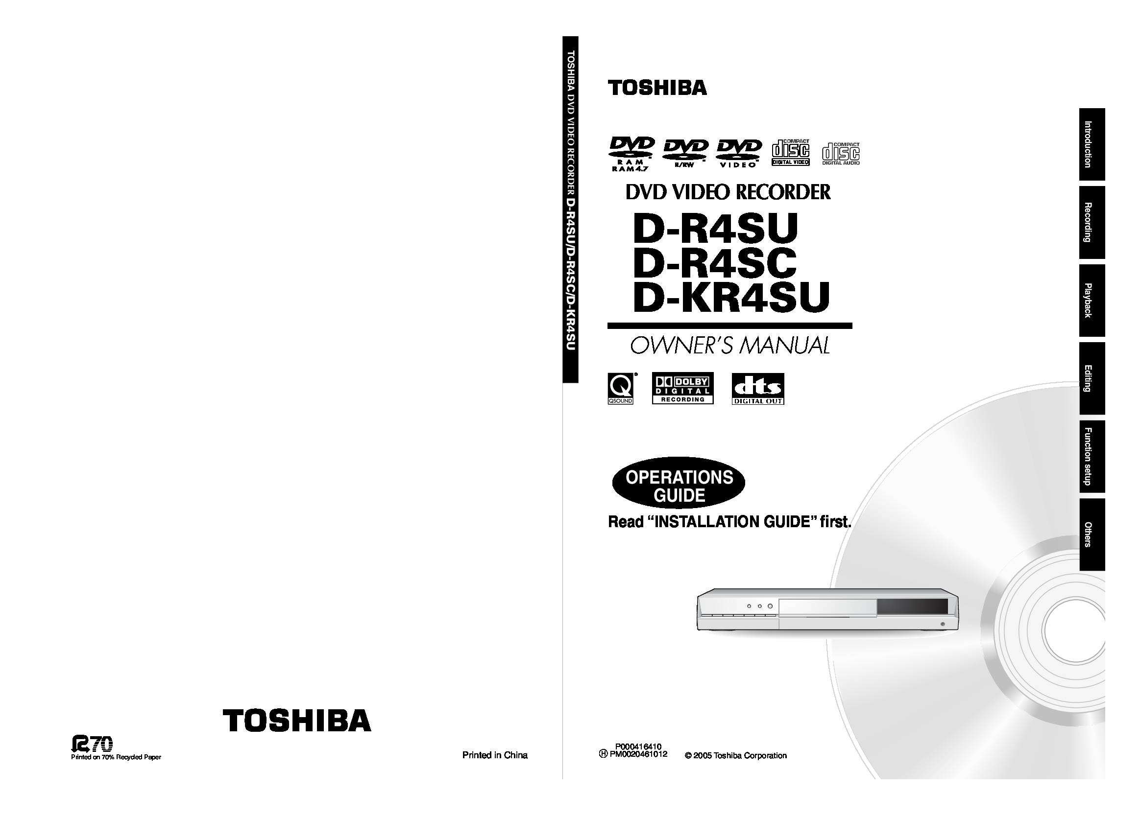 Toshiba D-KR4SU Owner Manual