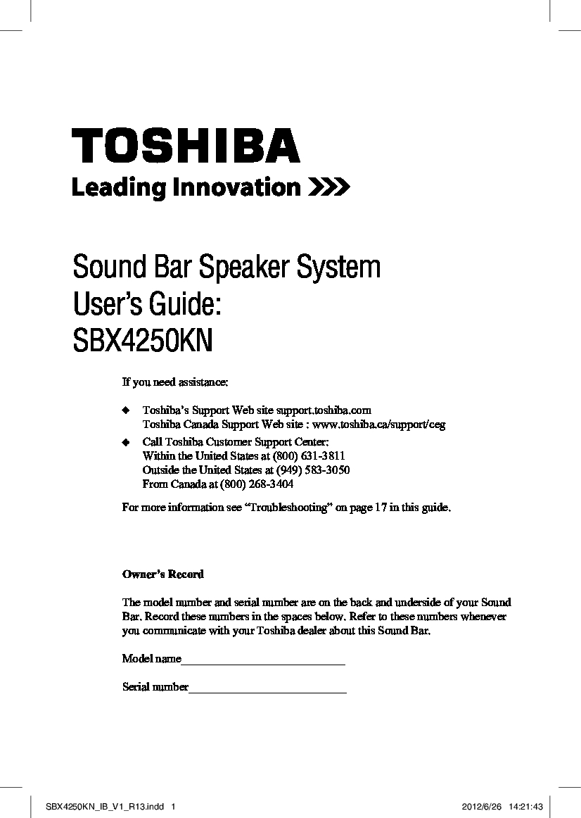Toshiba SBX4250 Manual