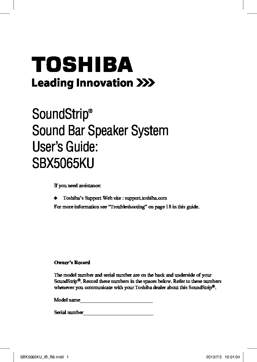 Toshiba SBX5065 Manual