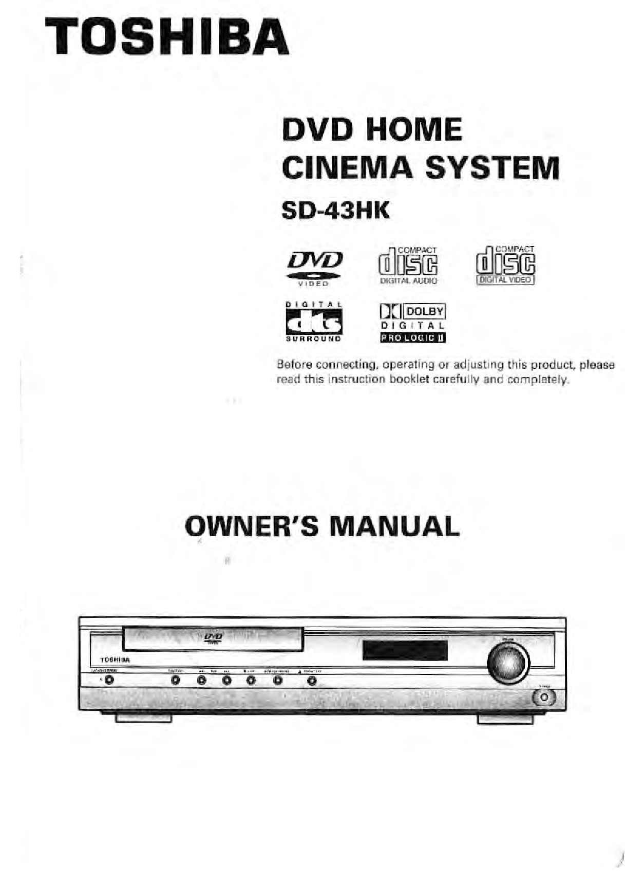 Toshiba SD-43HK Owner Manual
