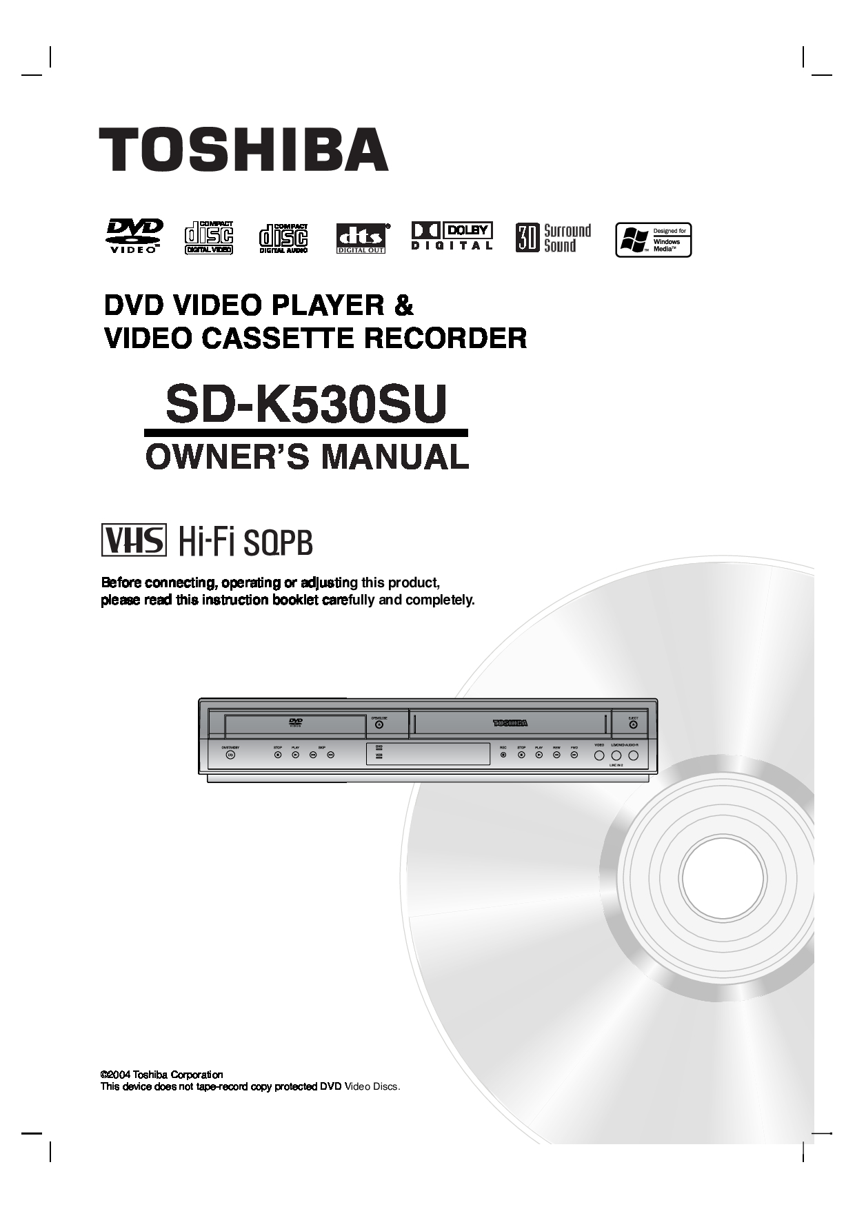 Toshiba SD-K530SU Owner Manual