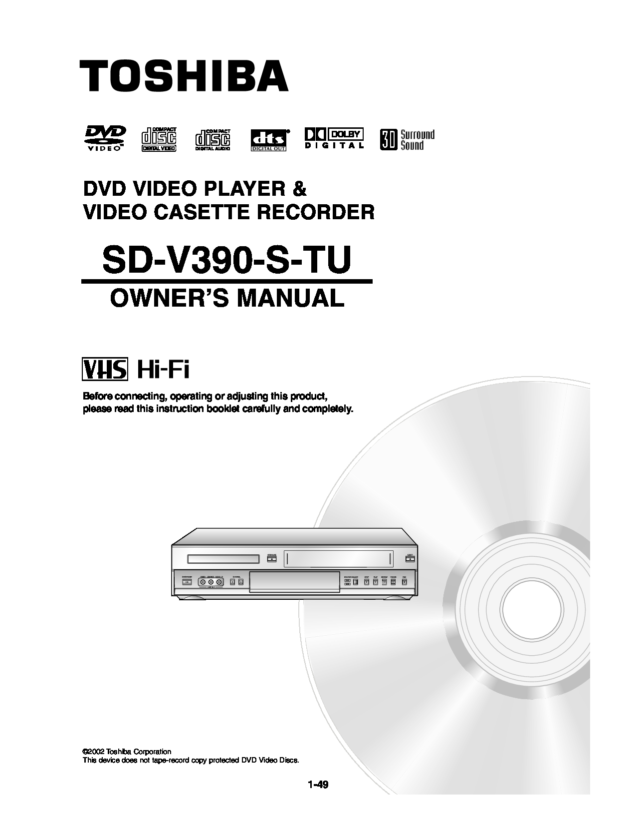 Toshiba SD-V390-S-TU Manual